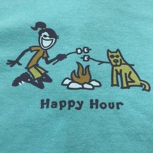 "Life Is Good Tops - Life is Good ""Happy Hour"" Teal Tee"